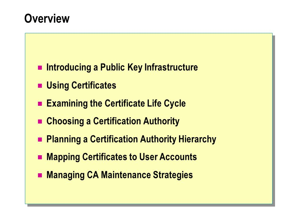  Using Certificates Identifying Uses for Certificates Determining Certificate Requirements Using Certificate Templates