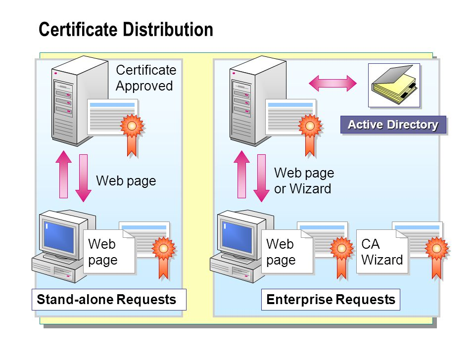 Certificate Distribution Stand-alone Requests Web page Certificate Approved Active Directory Enterprise Requests Web page or Wizard Web page Web page CA Wizard