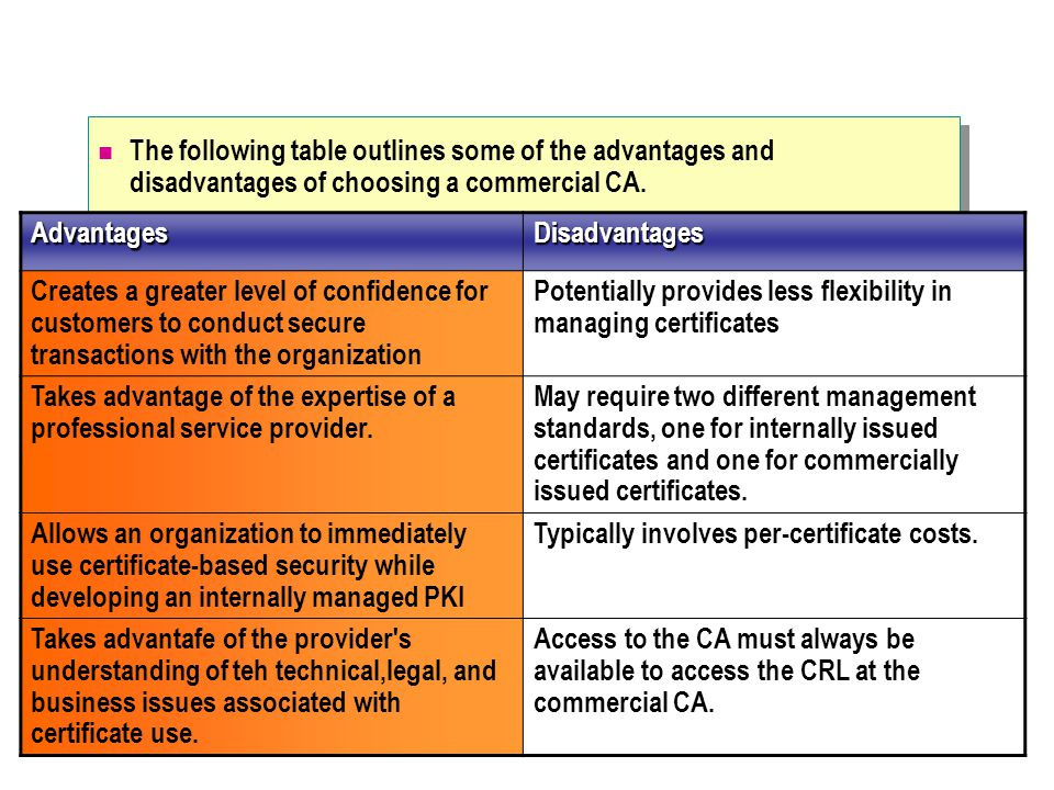 The following table outlines some of the advantages and disadvantages of choosing a commercial CA.