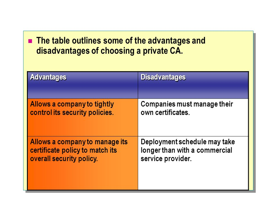 The table outlines some of the advantages and disadvantages of choosing a private CA.