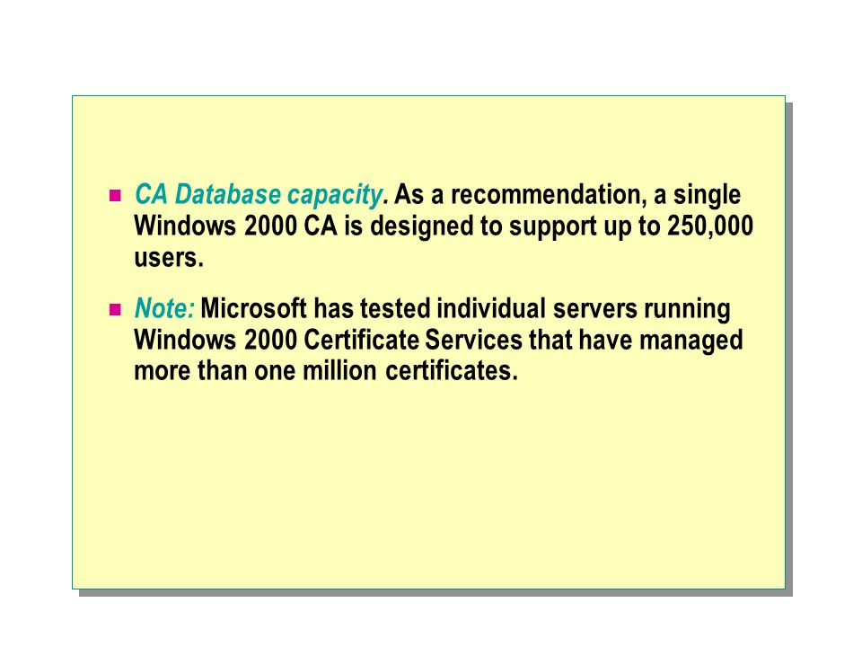 CA Database capacity.