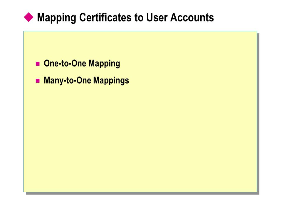  Mapping Certificates to User Accounts One-to-One Mapping Many-to-One Mappings