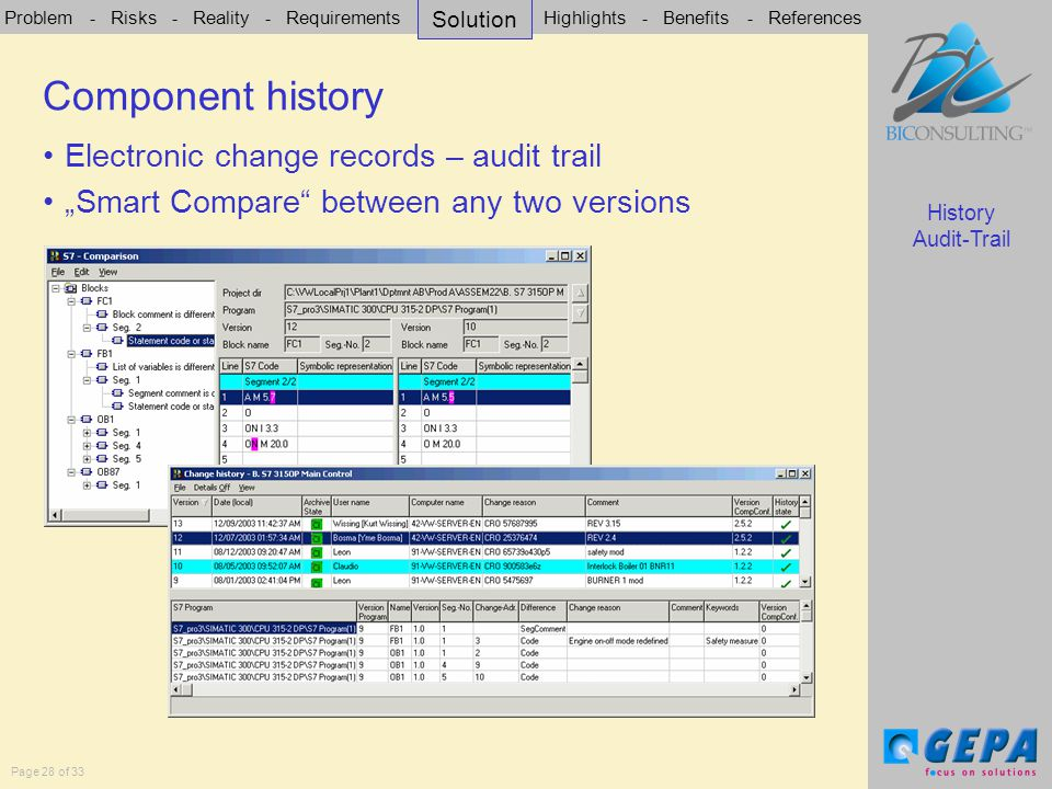 """Problem - Risks - Reality - Requirements - Solution - Highlights - Benefits - References Page 28 of 33 Electronic change records – audit trail """"Smart Compare between any two versions Components history History Audit-Trail Component history Solution"""