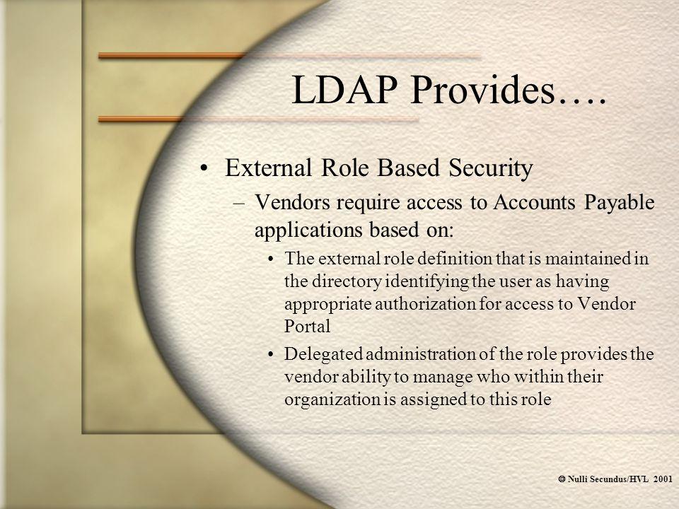  Nulli Secundus/HVL 2001 LDAP Provides….