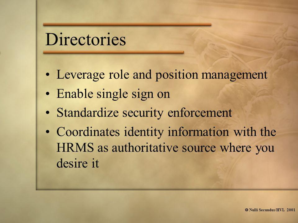  Nulli Secundus/HVL 2001 Directories Leverage role and position management Enable single sign on Standardize security enforcement Coordinates identit