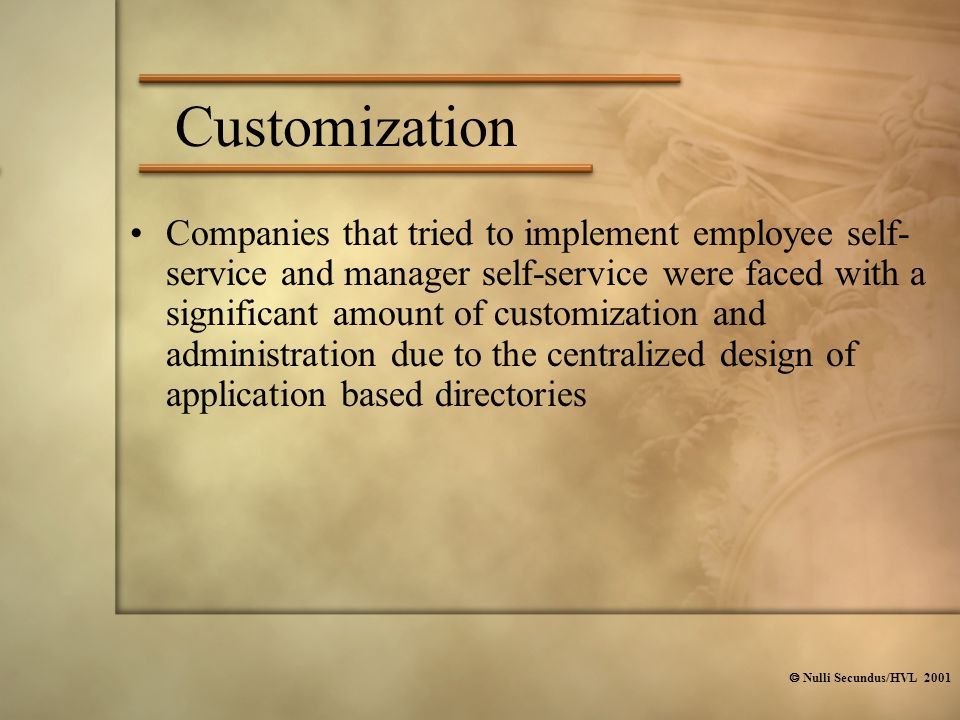  Nulli Secundus/HVL 2001 Customization Companies that tried to implement employee self- service and manager self-service were faced with a significan