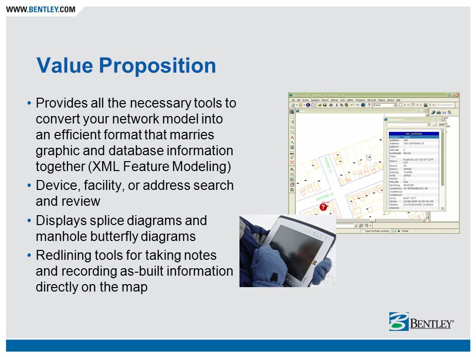 Value Proposition Provides all the necessary tools to convert your network model into an efficient format that marries graphic and database information together (XML Feature Modeling) Device, facility, or address search and review Displays splice diagrams and manhole butterfly diagrams Redlining tools for taking notes and recording as-built information directly on the map