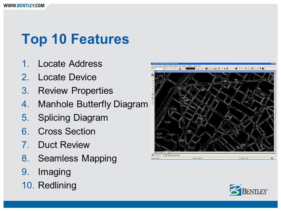 Top 10 Features 1.Locate Address 2.Locate Device 3.Review Properties 4.Manhole Butterfly Diagram 5.Splicing Diagram 6.Cross Section 7.Duct Review 8.Seamless Mapping 9.Imaging 10.Redlining
