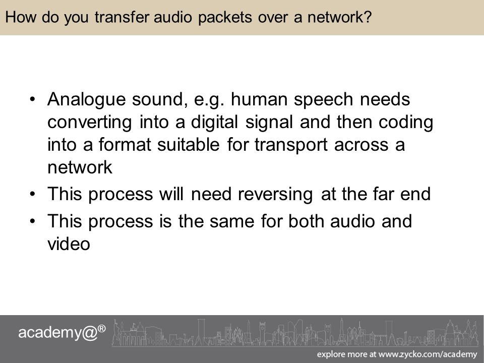 academy@ ® How do you transfer audio packets over a network.