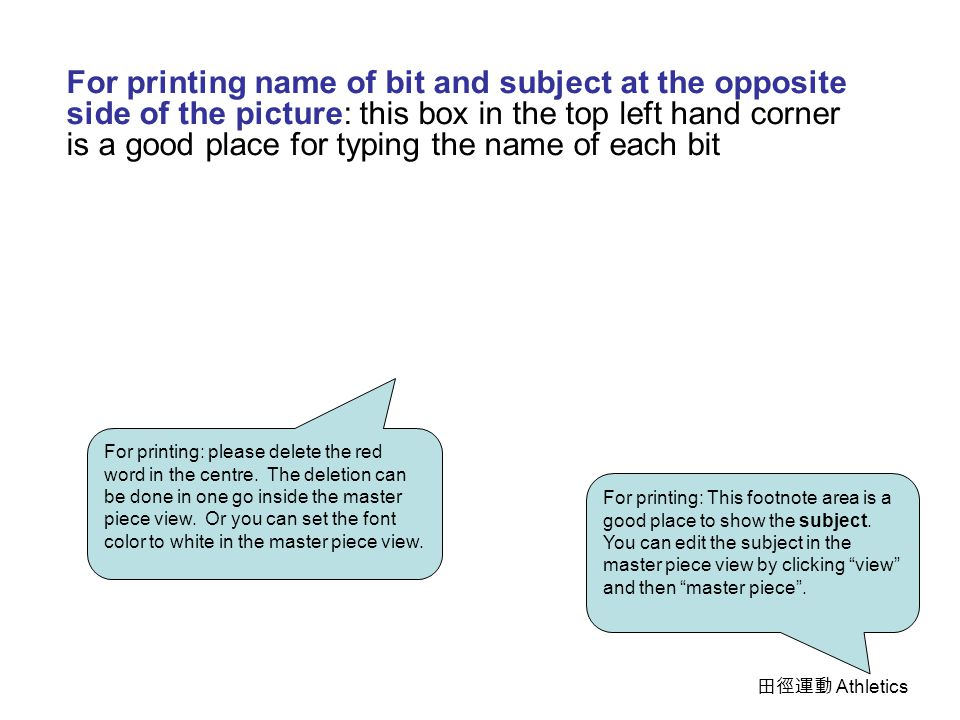 Printing Option You can print out all the 10 pictures as bits of intelligence cards by selecting picture – combination 1 in the print area box You can print out all the footnotes (bits of intelligence) together with the pictures by selecting footnote as print item