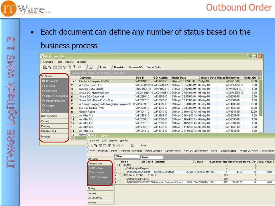 Outbound Order Each document can define any number of status based on the business process