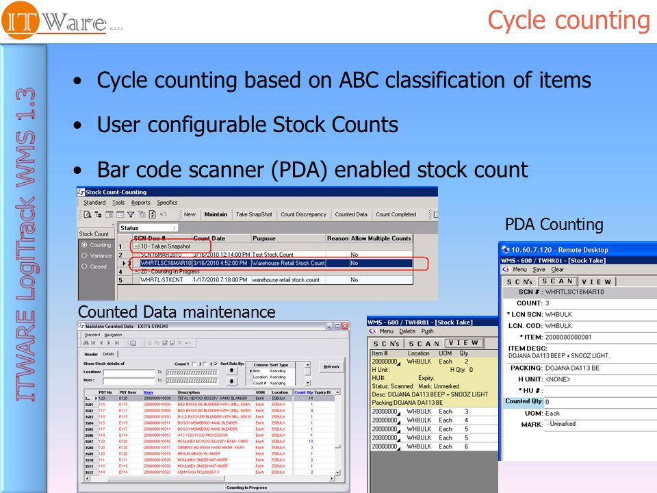 Cycle counting Cycle counting based on ABC classification of items User configurable Stock Counts Bar code scanner (PDA) enabled stock count Counted Data maintenance PDA Counting