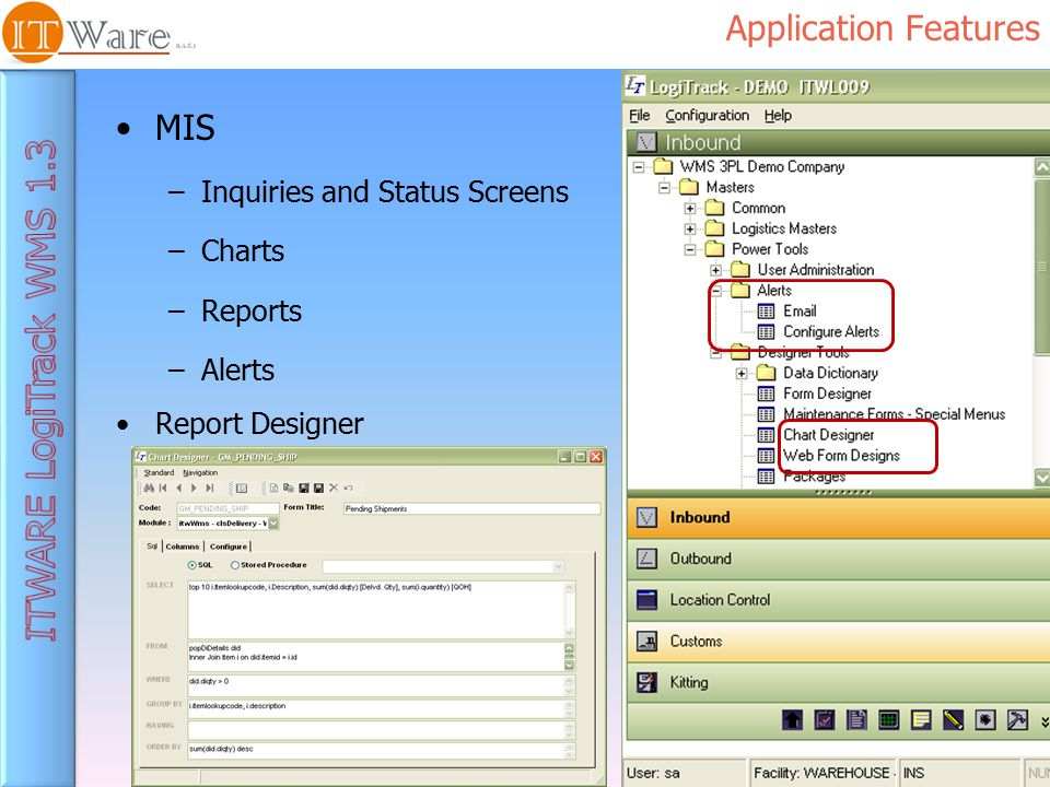 Application Features MIS –Inquiries and Status Screens –Charts –Reports –Alerts Report Designer