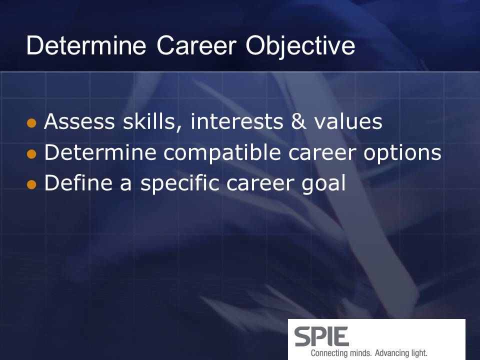 Determine Career Objective Assess skills, interests & values Determine compatible career options Define a specific career goal