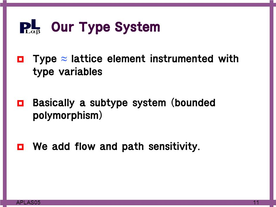 11APLAS05 Our Type System  Type ≈ lattice element instrumented with type variables  Basically a subtype system (bounded polymorphism)  We add flow and path sensitivity.