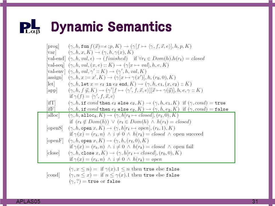 31APLAS05 Dynamic Semantics