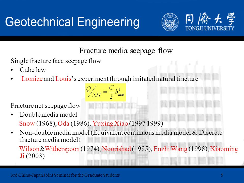 3rd China-Japan Joint Seminar for the Graduate Students16 Seepage flow-stress coupling control equations Coupling representation or Empirical equations Louis (1974) Gale (1982) Yuan-tian Zhou (1998) Indirect equations Baton (1985)