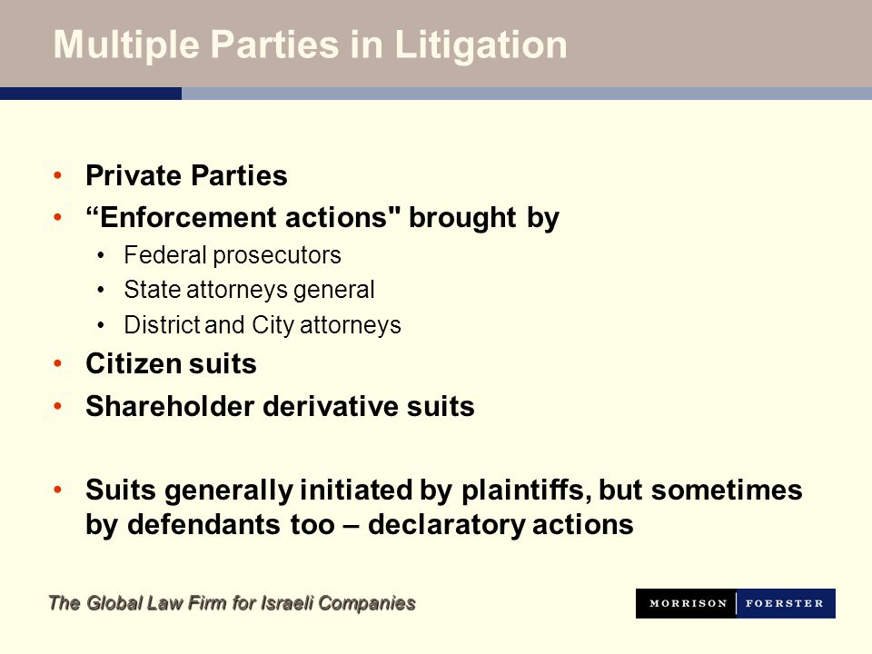 The Global Law Firm for Israeli Companies Multiple Parties in Litigation Private Parties Enforcement actions brought by Federal prosecutors State attorneys general District and City attorneys Citizen suits Shareholder derivative suits Suits generally initiated by plaintiffs, but sometimes by defendants too – declaratory actions