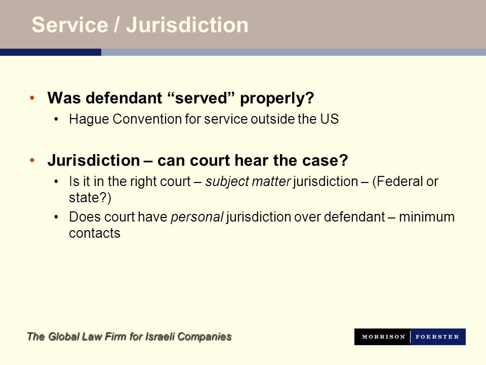 The Global Law Firm for Israeli Companies Service / Jurisdiction Was defendant served properly.