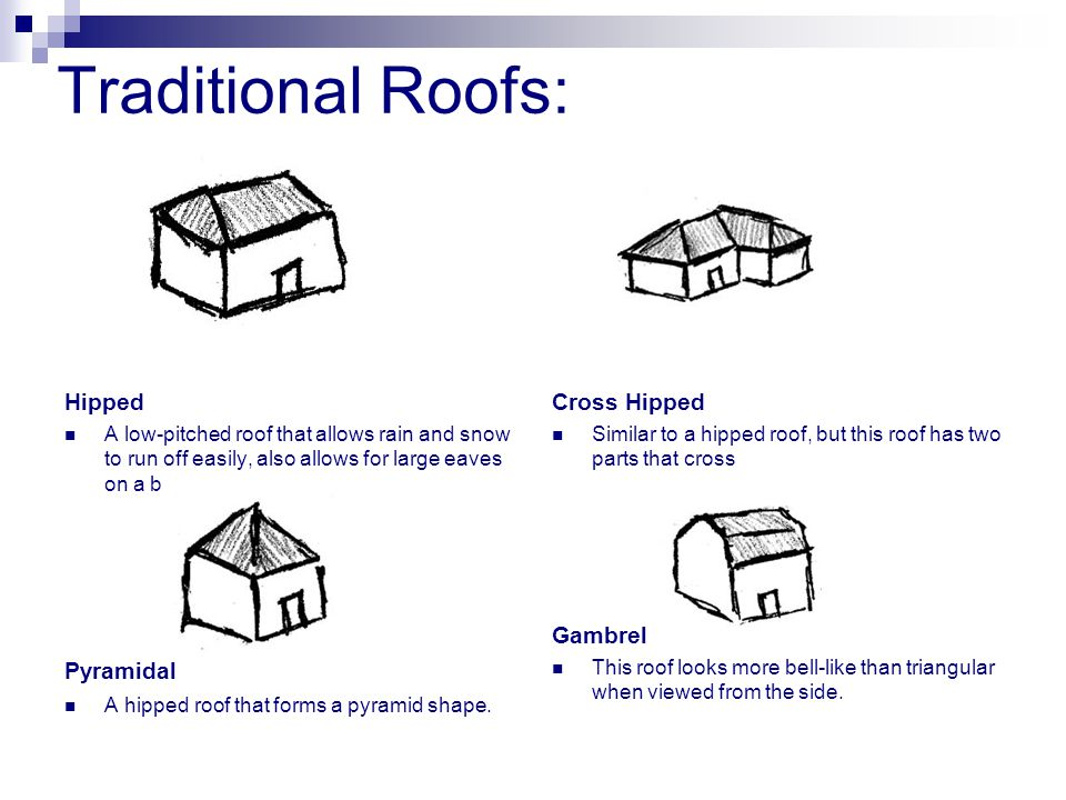 Traditional Roofs: Hipped A low-pitched roof that allows rain and snow to run off easily, also allows for large eaves on a building.