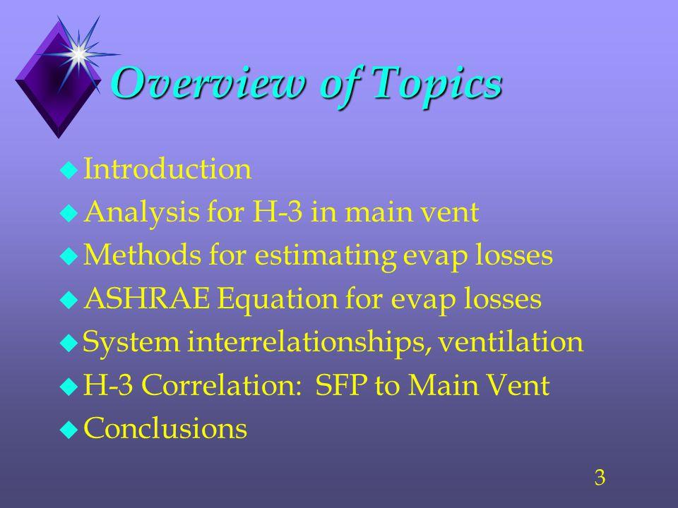 3 Overview of Topics u Introduction u Analysis for H-3 in main vent u Methods for estimating evap losses u ASHRAE Equation for evap losses u System interrelationships, ventilation u H-3 Correlation: SFP to Main Vent u Conclusions
