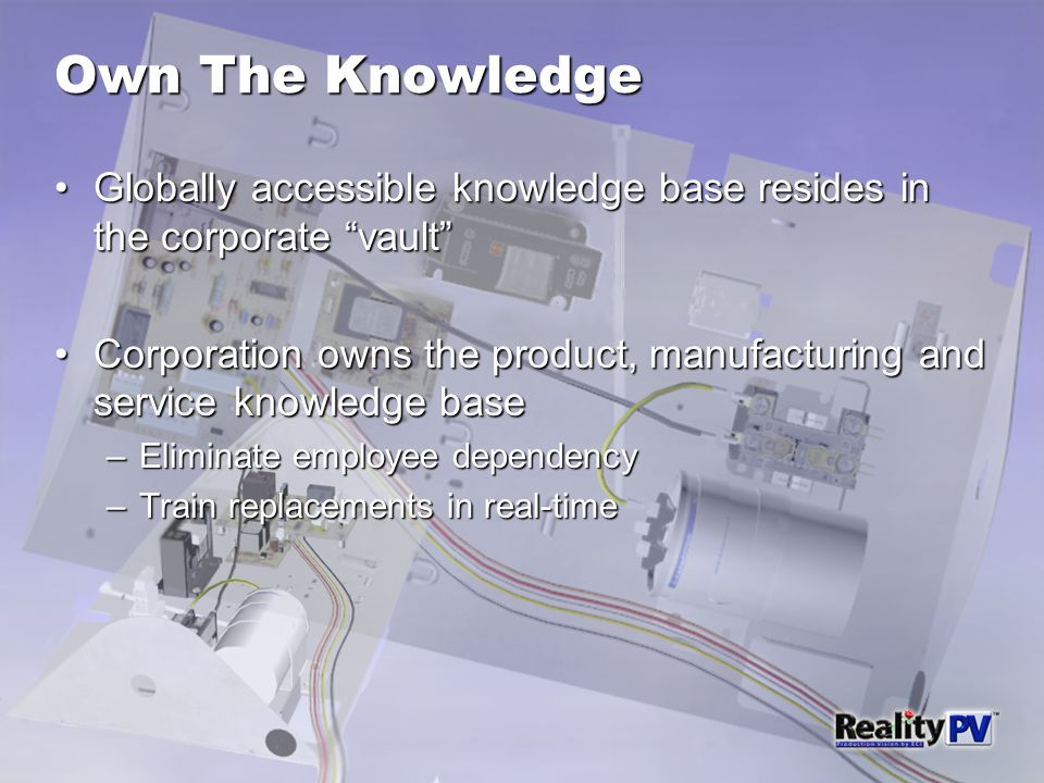 Own The Knowledge Globally accessible knowledge base resides in the corporate vault Globally accessible knowledge base resides in the corporate vault Corporation owns the product, manufacturing and service knowledge baseCorporation owns the product, manufacturing and service knowledge base –Eliminate employee dependency –Train replacements in real-time