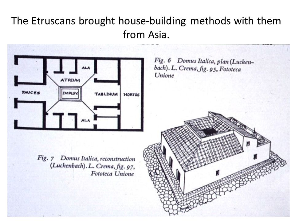 The Etruscans brought house-building methods with them from Asia.