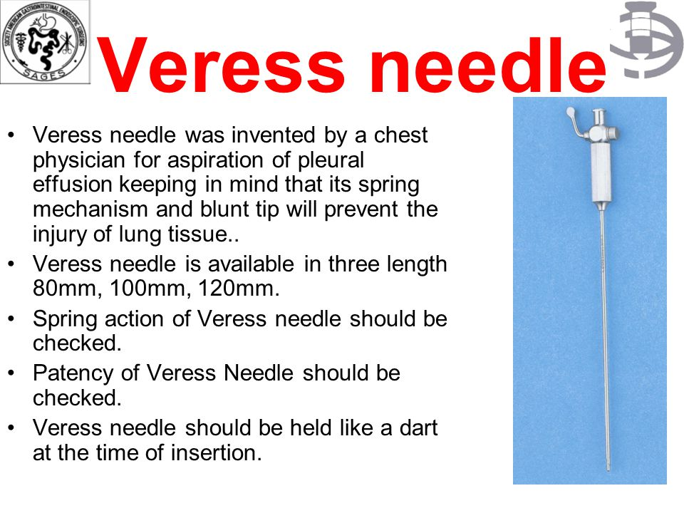 Veress needle Veress needle was invented by a chest physician for aspiration of pleural effusion keeping in mind that its spring mechanism and blunt t
