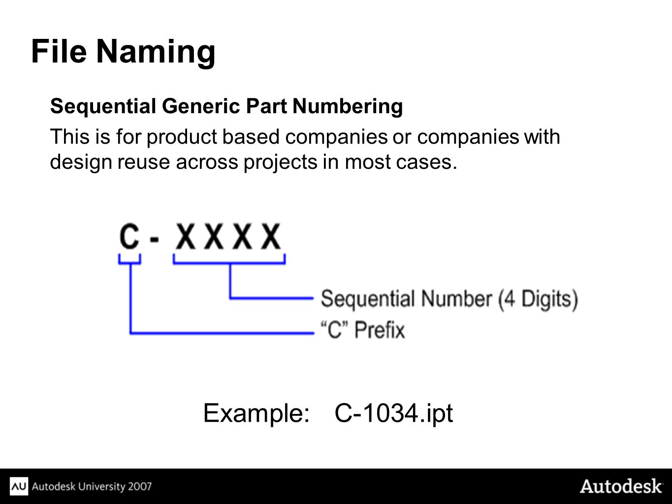 Sequential Generic Part Numbering This is for product based companies or companies with design reuse across projects in most cases.