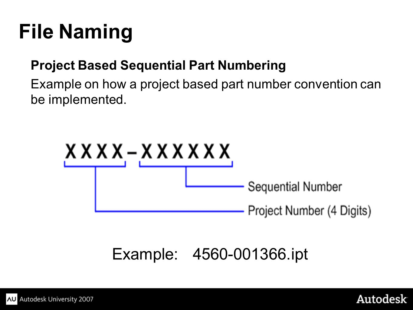 Project Based Sequential Part Numbering Example on how a project based part number convention can be implemented.
