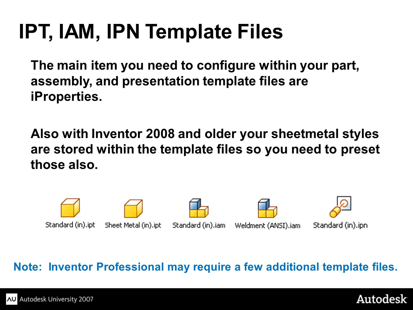 The main item you need to configure within your part, assembly, and presentation template files are iProperties.