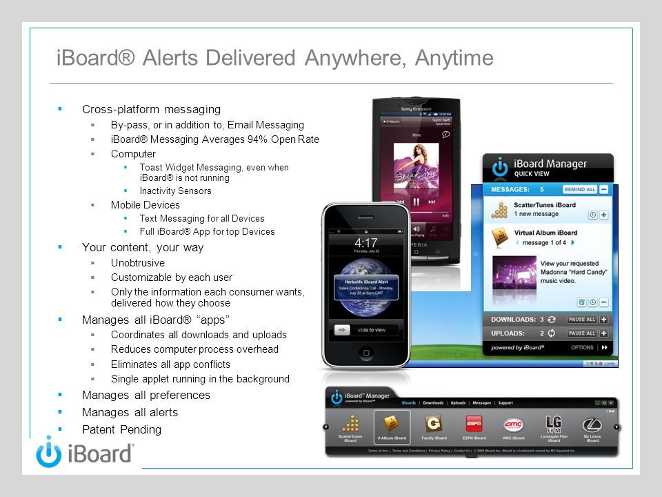 iBoard® Alerts Delivered Anywhere, Anytime  Cross-platform messaging  By-pass, or in addition to, Email Messaging  iBoard® Messaging Averages 94% O