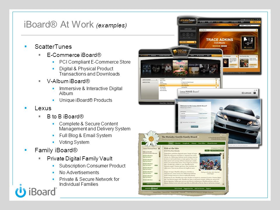 iBoard® At Work (examples)  ScatterTunes  E-Commerce iBoard®  PCI Compliant E-Commerce Store  Digital & Physical Product Transactions and Download