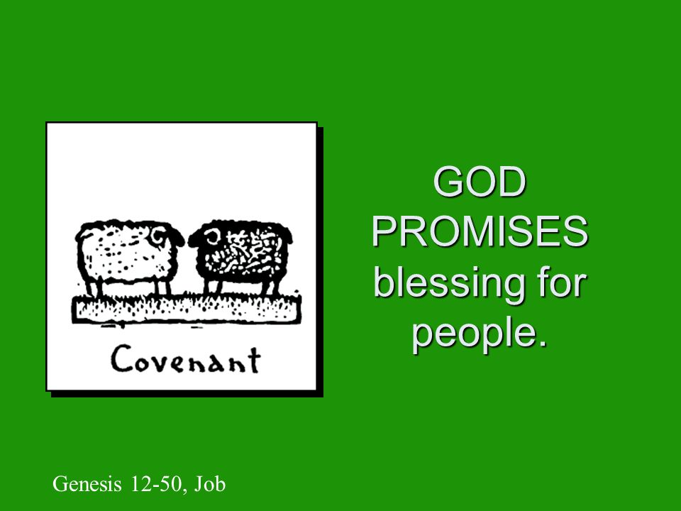 GOD PROMISES blessing for people. Genesis 12-50, Job