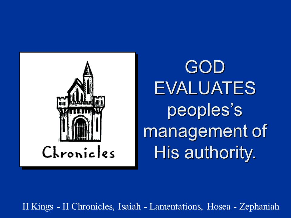 GOD EVALUATES peoples's management of His authority.