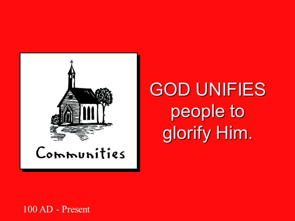 GOD UNIFIES people to glorify Him. 100 AD - Present