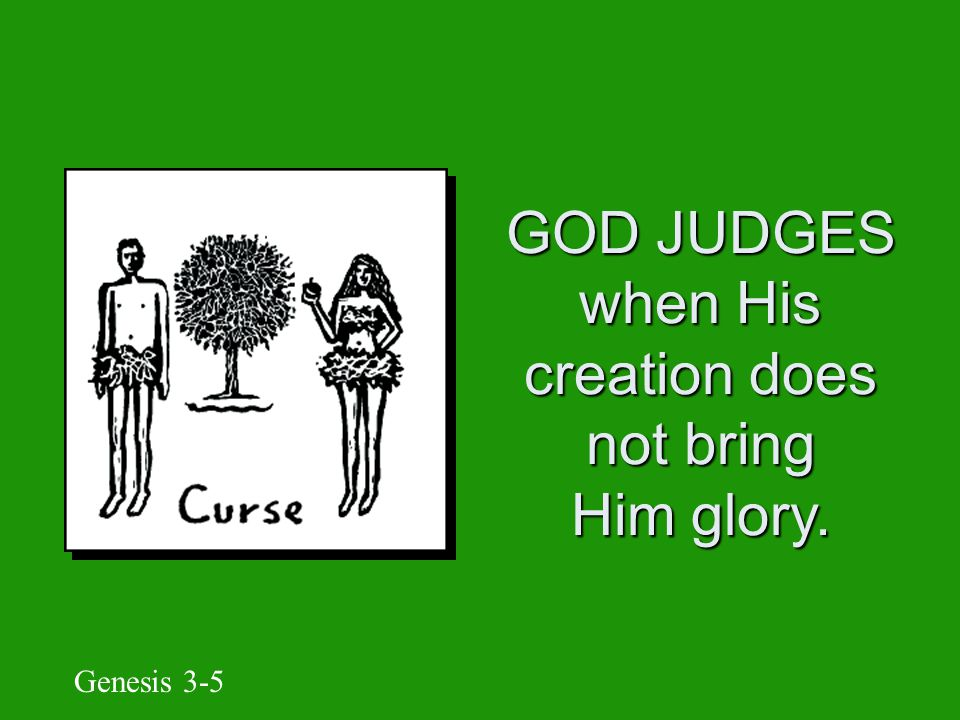 GOD ________ creation when people's wickedness defies His glory.