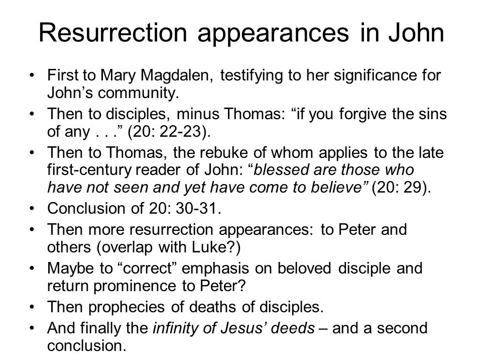 What to make of John's themes.The various signs from the first half of the gospel.
