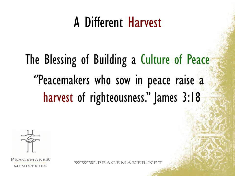 """A Different Harvest The Blessing of Building a Culture of Peace '""""Peacemakers who sow in peace raise a harvest of righteousness."""" James 3:18"""