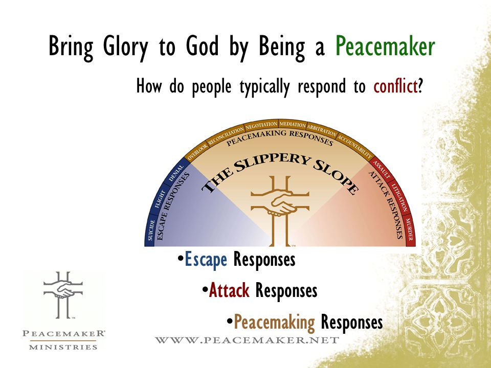 Bring Glory to God by Being a Peacemaker How do people typically respond to conflict? Escape Responses Attack Responses Peacemaking Responses