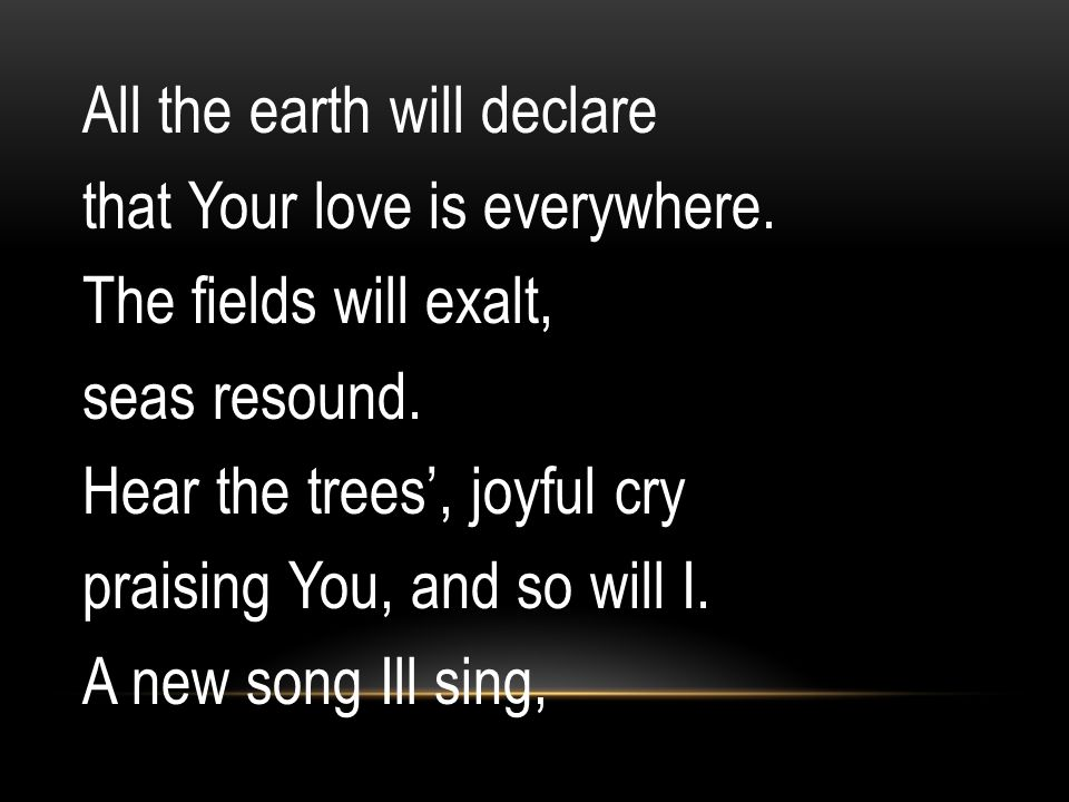 All the earth will declare that Your love is everywhere. The fields will exalt, seas resound. Hear the trees', joyful cry praising You, and so will I.
