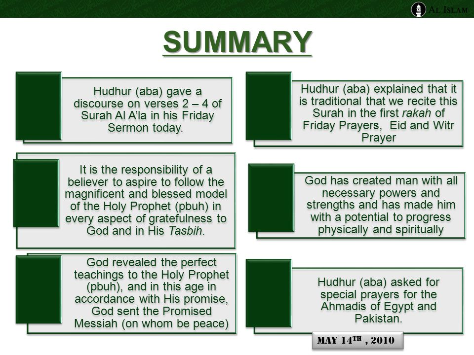 Surah Al A'la and the tradition of the Holy Prophet ( pbuh) Surah Al A'la is recited in the first Rakah ( one unit of Salat) of Friday Prayers Surah Al Ghashiyah is recited in the second rakah Surah Al A'la is recited in the first Rakah ( one unit of Salat) of The Eid Prayers Surah Al Ghashiyah is recited in the second rakah Surah Al A'la is recited in the first Rakah ( one unit of Salat) of Witr Prayer Surah Al Kafiroon in the second and either Surah Al Ikhlas or all the last three Surahs of the Holy Qur'an in the third rakah May 14 th, 2010