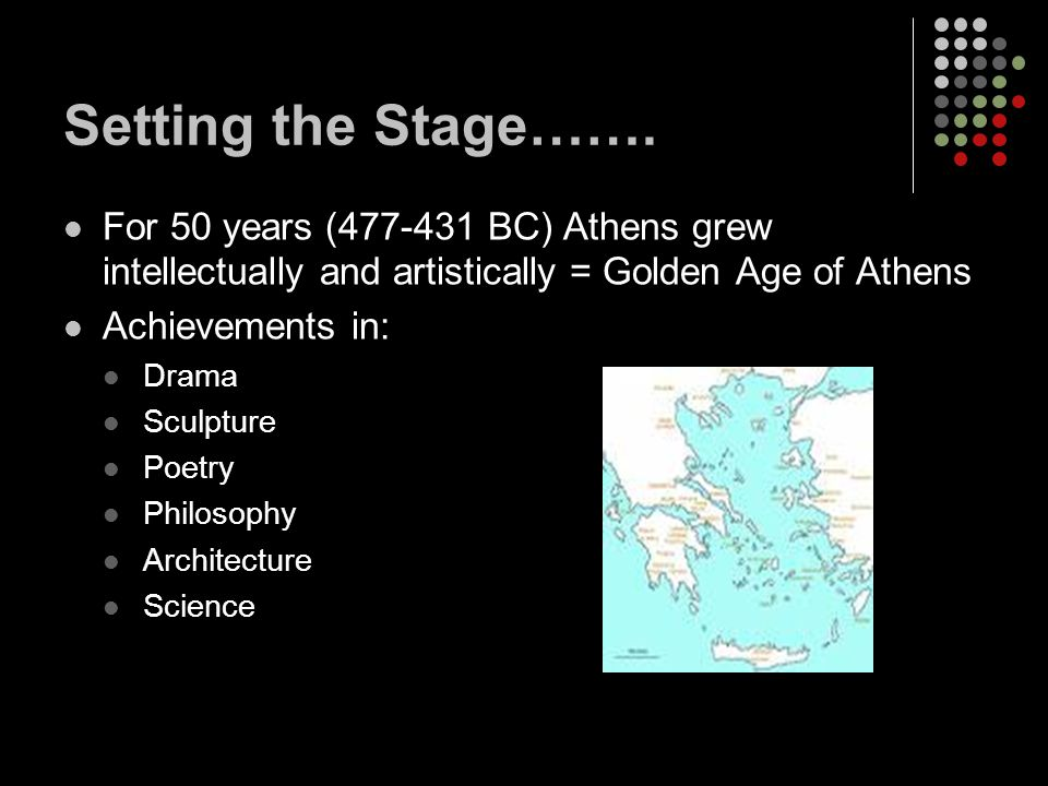 Drama and History Greeks invented drama as an art form and built the 1st theaters Civic Pride and Honor to Gods Wealthy put on productions Plays showed leadership, justice, and duties owed to Gods