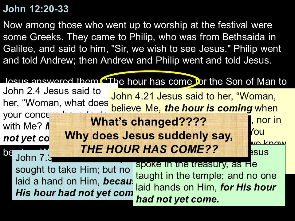 John 12:20-33 Now among those who went up to worship at the festival were some Greeks.