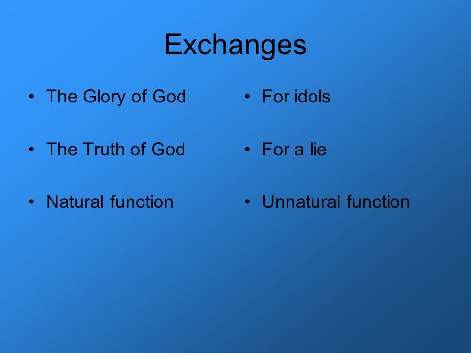 Exchanges The Glory of God The Truth of God Natural function For idols For a lie Unnatural function