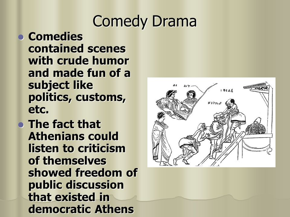 Tragedy Drama Serious drama about love, hate, war or betrayal Serious drama about love, hate, war or betrayal 3 notable dramatists wrote tragedies: Aeschylus, Sophocles, and Euripides 3 notable dramatists wrote tragedies: Aeschylus, Sophocles, and Euripides
