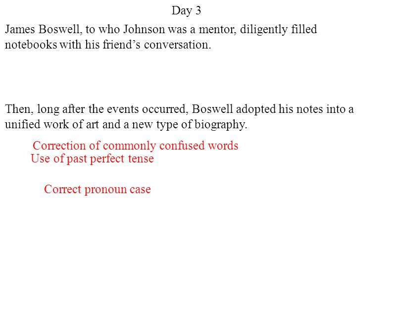 Day 3 James Boswell, to whom Johnson was a mentor, diligently filled notebooks with his friend's conversation.