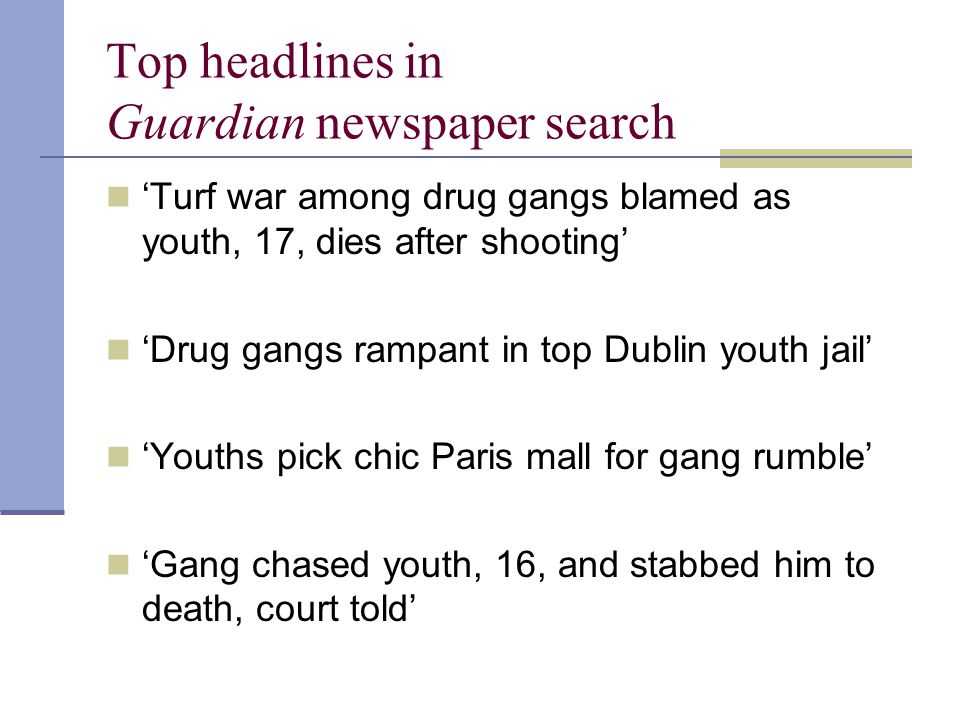 History: conclusion Likely very similar history of gangs RC was unusual in this specialist 'drugs gangs' status in the UK Evidence anecdotal, police In a similar way, American has research identified these specialist 'drugs gangs' in some cities (e.g.