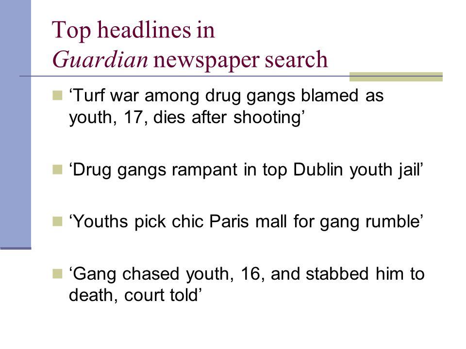 Top headlines in Guardian newspaper search 'Turf war among drug gangs blamed as youth, 17, dies after shooting' 'Drug gangs rampant in top Dublin yout