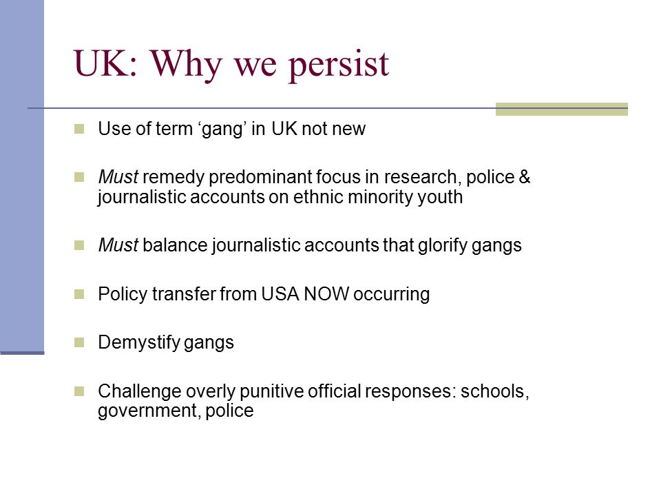 Structure, organisation, drug dealing: conclusion Probably very similar for most US youth gangs Specialist (e.g.